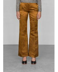 & Other Stories Yellow Linen and Silk Trousers