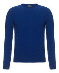 Polo Ralph Lauren Blue Cashmere Cable Knit Jumper for men