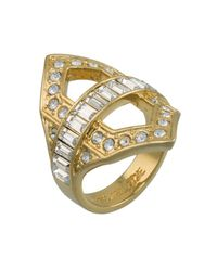 Rachel Zoe | Metallic Deco Cut Out Crystal Ring | Lyst