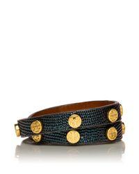 Tory Burch Blue Double Wrap Logo Stud Bracelet