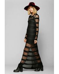 Urban Outfitters - Black Mesh Stripe Maxi Dress - Lyst