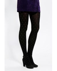 Urban Outfitters - Black Polka Dot Opaque Tight - Lyst