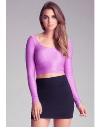 Bebe Purple Cropped Shine Top