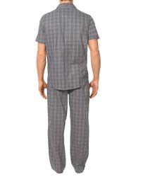 Calvin Klein Gray Woven Cotton Check Pyjama Pants for men