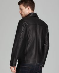 Lyst Cole Haan Smooth Leather Moto Jacket In Black For Men