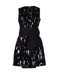 Dolce & Gabbana | Black Lace And Carnation-Print Brocade Dress | Lyst