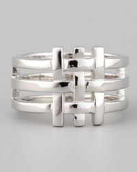 Eddie Borgo - Metallic Gridline Ring Silver for Men - Lyst
