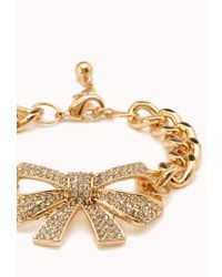 Forever 21 - Metallic Sweet Side Bow Bracelet - Lyst