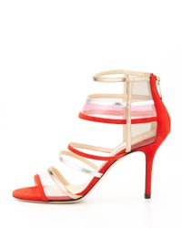 Jimmy Choo Red Mixer Strappy Cage Sandal Orange