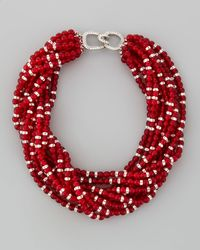 Kenneth Jay Lane Multistrand Beaded Torsade Necklace Red
