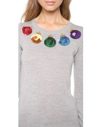 Markus Lupfer Gray Christmas Baubles Sequin Sweater