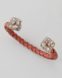 M.c.l  Matthew Campbell Laurenza Gray Mixed Sapphireflower Cuff Red