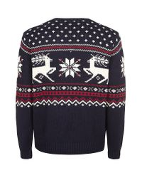 Polo Ralph Lauren Blue Intarsia Reindeer Sweater for men