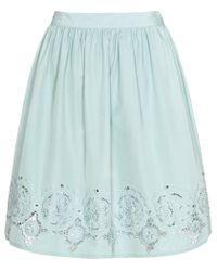 Reiss Blue Florence Cutout Border Skirt