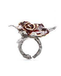 Roberto Cavalli Pink Embellished Rose Ring
