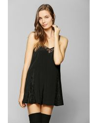 Urban Outfitters   Black Pins and Needles Lace Inset Slip Romper   Lyst