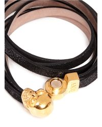 Alexander McQueen - Black Dotted Leather Wrap Bracelet - Lyst