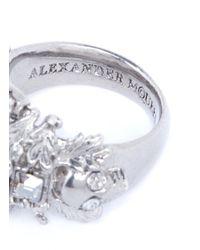 Alexander McQueen - Metallic Pearl Skull Cross Ring - Lyst