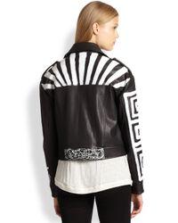 Elizabeth and James Black Erwan Painteffect Pritned Leather Jacket