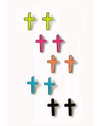 Forever 21 - Multicolor Cross Stud Set - Lyst