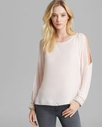 Guess Pink Top Faux Pearl Embellished