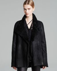 Helmut Lang Black Coat Wrecked Shearling Double Collar