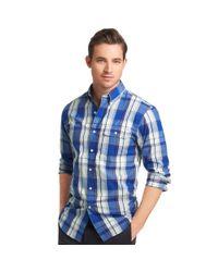 Izod - Blue Longsleeve Ski Club Peach Twill Plaid Shirt for Men - Lyst