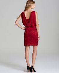 Laundry by Shelli Segal Red Jersey Blouson Lace Dress