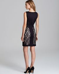 Laundry by Shelli Segal Black Sleeveless Lace Mixed Media Fit and Flare Dress