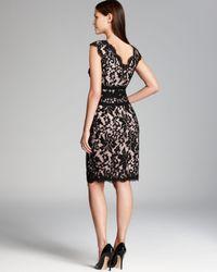 Tadashi Shoji Black Scallop Neckline Lace Dress - Cap Sleeve
