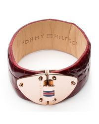 Tommy Hilfiger | Red Tommy Leather Bracelet | Lyst