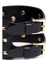 Valentino - Black 'rockstud' Wide Leather Bracelet - Lyst