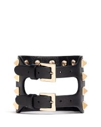 Valentino | Black 'rockstud' Cutout Leather Bracelet | Lyst