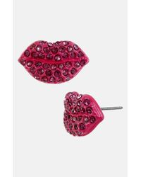 Betsey Johnson | Girlie Pink Lip Stud Earrings | Lyst