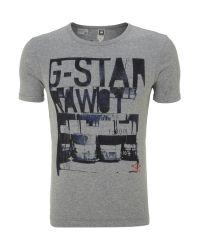 G-Star RAW Gray Shelby Print Tshirt for men