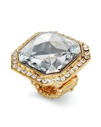 INC International Concepts - Metallic Goldtone Crystal Square Stone Ring - Lyst