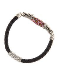 John Hardy | Black Mens Naga Leather Borneo-Bead Bracelet for Men | Lyst