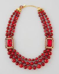 Jose & Maria Barrera | Beaded Ornamental Necklace Red | Lyst