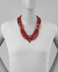 Jose & Maria Barrera - Beaded Ornamental Necklace Red - Lyst