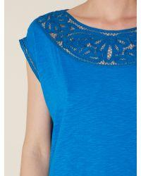 Lauren by Ralph Lauren Blue Short Sleeve Top with Crochet Neckline