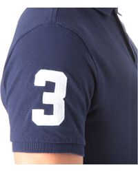 Ralph Lauren Blue Customfit Tonal Big Pony Polo Shirt for men