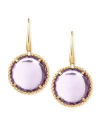 Roberto Coin - Purple 18k Yellow Gold Ipanema Round Amethyst Drop Earrings - Lyst