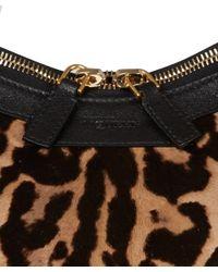 Alexander McQueen Black Leopard Print De Manta Ponyskin Clutch Bag