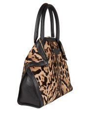 Alexander McQueen Black Small Leopard Print De Manta Ponyskin Bag