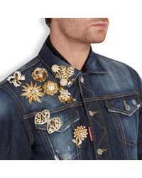 DSquared² Blue Brooch Embellished Denim Jacket for men