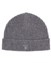 GANT Gray Lambswool Ribbed Beanie Hat for men
