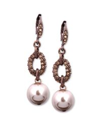 Givenchy | Metallic Brown Goldtone Blush Glass Pearl and Swarovski Crystal Drop Earrings | Lyst