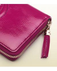 Gucci Purple Soho Patent Leather Zip Around Wallet