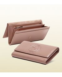 Gucci Pink Soho Patent Leather Continental Wallet
