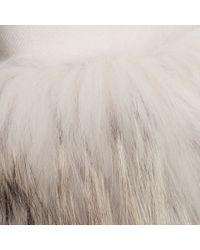 Herno White Fur Trimmed Cashmere and Silk Blend Jacket